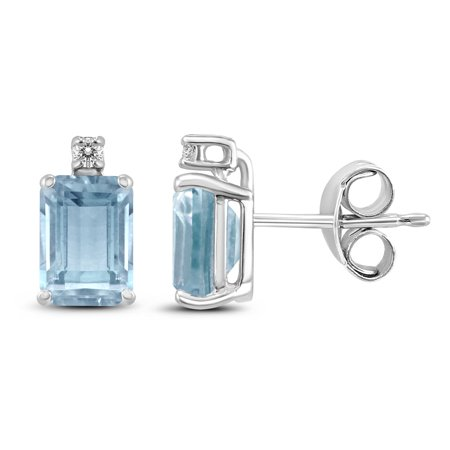 14K White Gold 6x4MM Emerald Shaped Aquamarine and Diamond Earrings Shaped Aquamarine Earrings