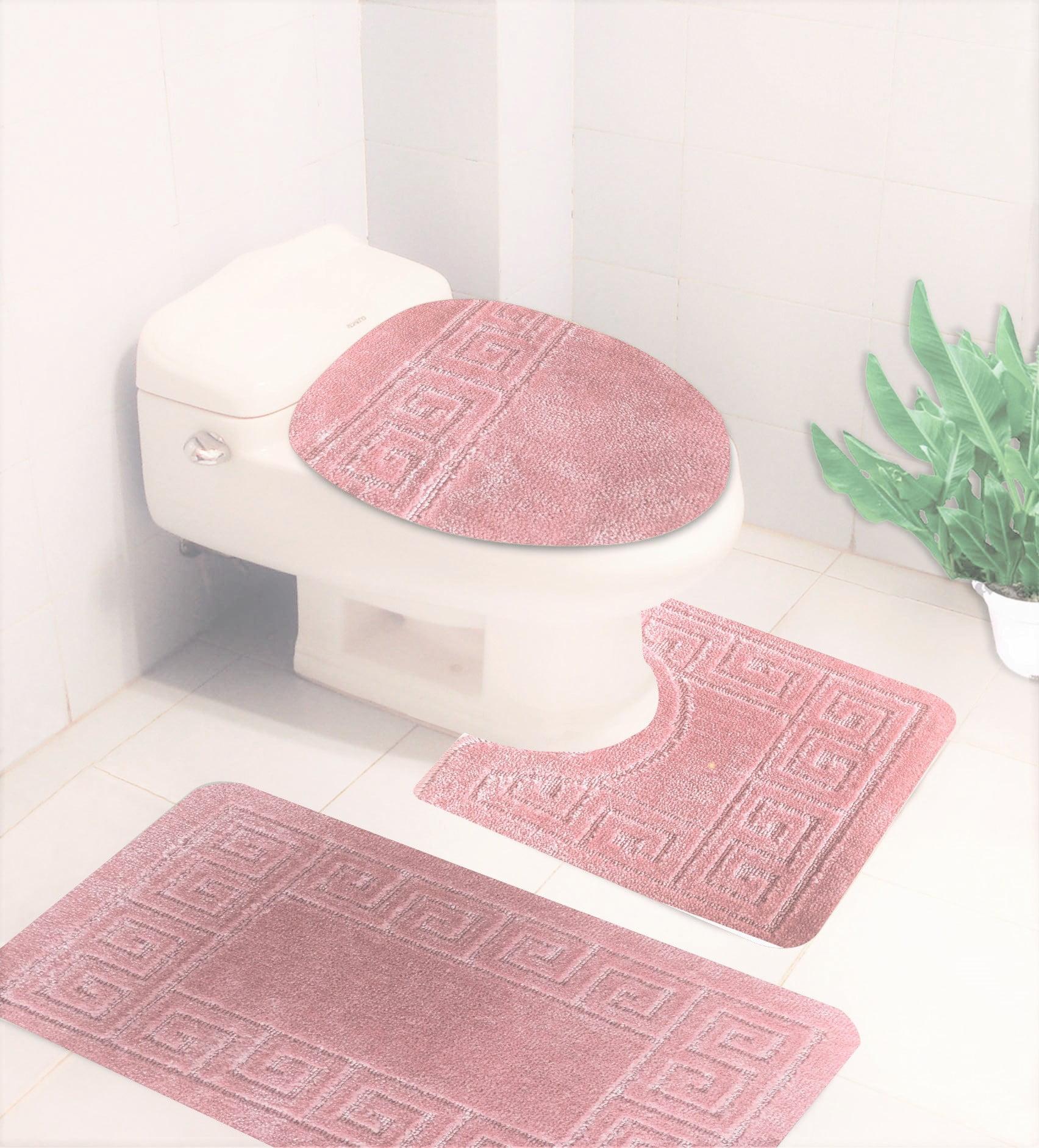#6 Pink 3-Piece solid Design Bathroom Mat Set, Plain ...
