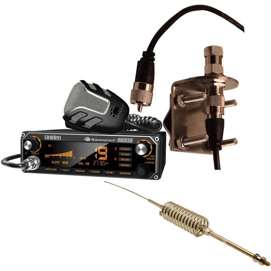 "Uniden Bearcat 980SSB CB Radio With SSB, Browning BR-28 High-Performance Broad Band 63"" CB Antenna and Browning BR-MM-18 Mirror-Mount Kit With CB Antenna Coaxial Cable"
