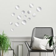 Blue Moon Studio 14 pc Peel and Stick Self-Adhesive Silver Circle Wall Mirror Decals