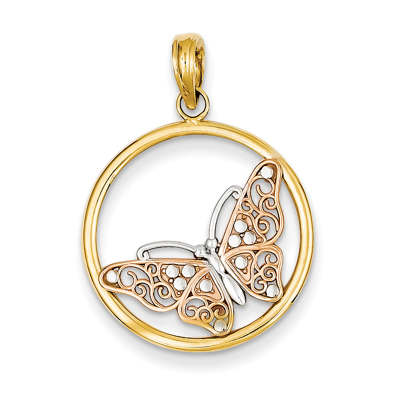 14K Rose & yellow gold w/ Rhodium Butterfly in Circle Pen...