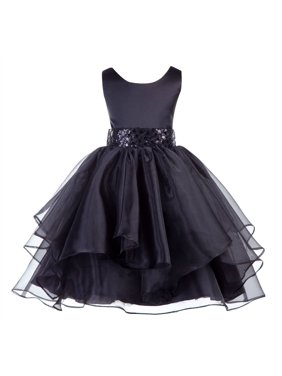 28ca870309f5 Product Image Ekidsbridal Asymmetric Ruffled Organza Sequin Flower Girl  Dress Weddings Easter Special Occasions Pageant Toddler Birthday Party