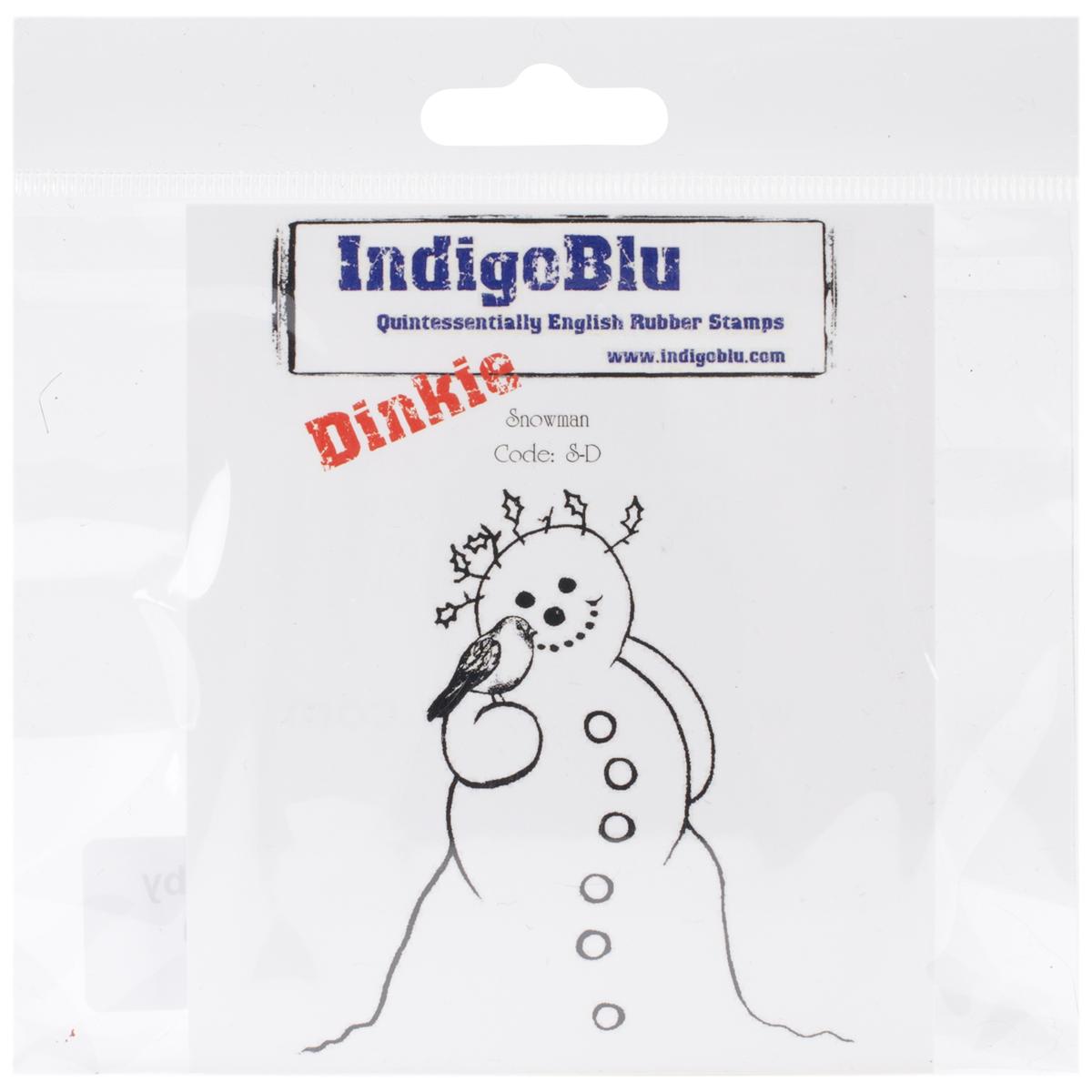 "IndigoBlu Cling Mounted Stamp 4""X3""-Snowman - Dinkie"