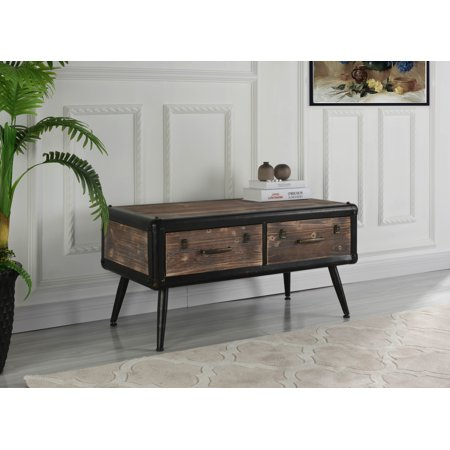 (Entryway Traditional Wooden Chest with 2 Drawers, Brown)