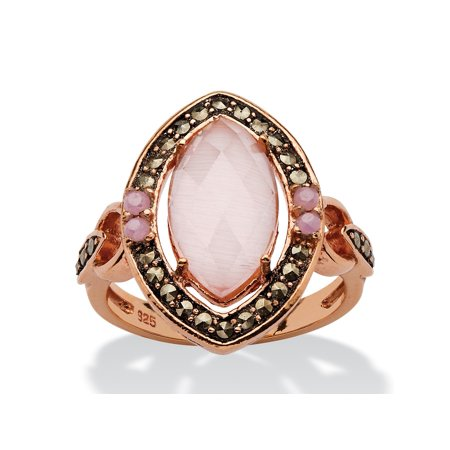 Art Deco Marcasite Ring - Genuine Pink Cat's Eye and Black Marcasite Vintage-Style Marquise Halo Ring in Rose Gold over Sterling Silver