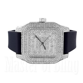 Techno Pave Watches Mens White Simulated Diamonds Brand New Rubber Strap