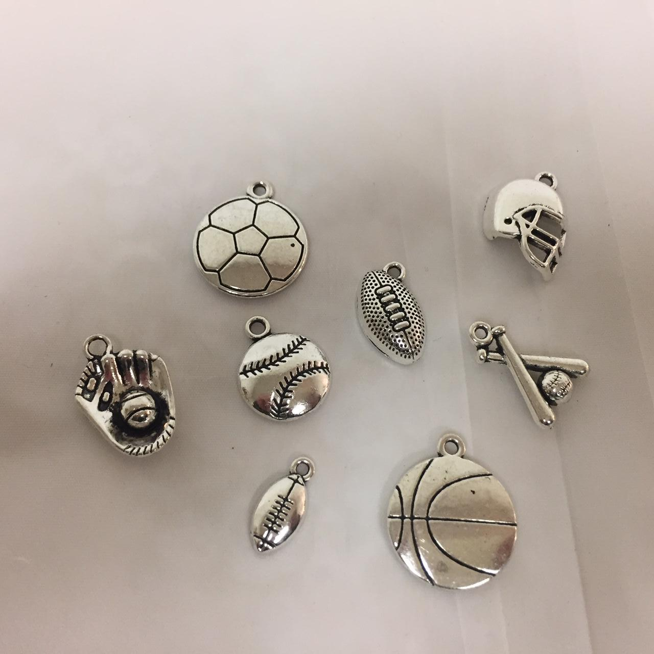 LOT OF 50 PIECES SILVER METAL CHARMS SPORTS PACK