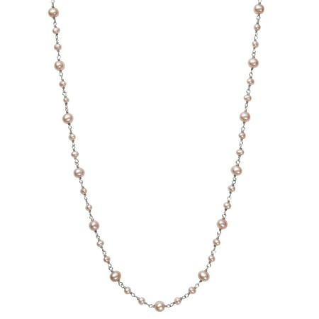 Natural Pink Cultured Freshwater Pearl Sterling Silver Station Tin Cup Chain Necklace, 18""
