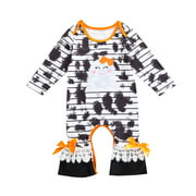 Toddler Kids Clothes Baby Girls Halloween Gift Tie Dye Romper Jumpsuits Cartoon Outfits