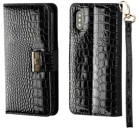 Insten Crocodile Stand Folio Flip Leather Wallet Flap Pouch Case Cover For Apple iPhone X XS 2017 - Black - image 1 de 8