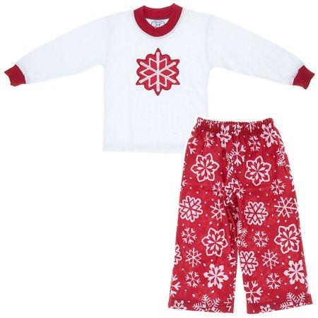 Sara's Prints Girls Snowflake Christmas Pajamas