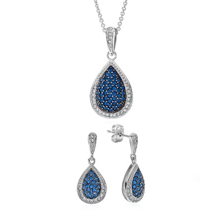 Swarovski Necklace Earring - Teardrop Necklace & Earring Set Made with Swarovski Crystals in Bronze - 18
