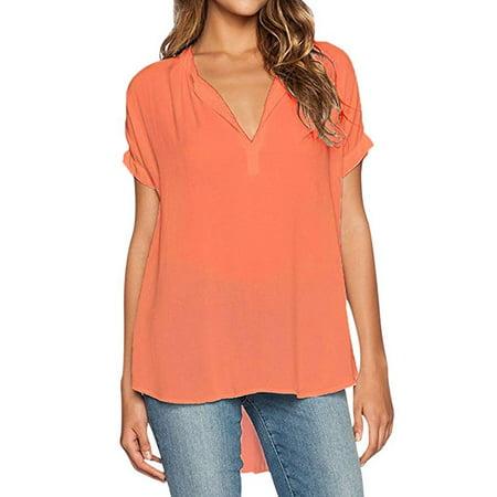 734da3ba59613a VISTA - Womens Summer Casual Short Sleeve Chiffon Blouse Shirt Tops (S-XXL)  - Walmart.com