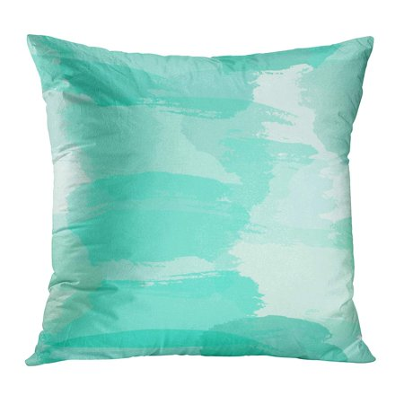 ECCOT Abstract Pattern Brush Strokes in Light Blue Turquoise Green and Teal Imitating Watercolor Paint Modern Pillow Case Pillow Cover 16x16