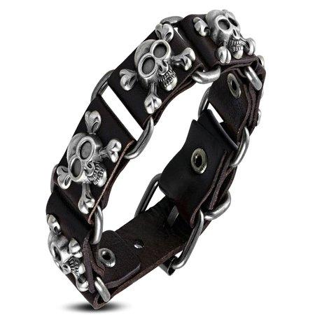Genuine Dark Brown Leather Pirate Skull Crossbones Stud Belt Buckle Bracelet