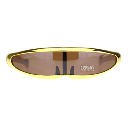 Novelty Metallic Plastic Narrow Cyclops Robotic Party Shade Sunglasses (Prayer For Favor With God And Man)