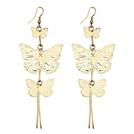 Gold Butterfly Drop (925 Sterling Gold Jewelry Women's Vivid Animal Earrings Butterfly Pendant Drop Earrings for)