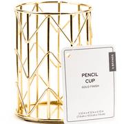 U BRAND Wire Metal Pencil Cup, Desktop Accessories, Gold Finish, 897U