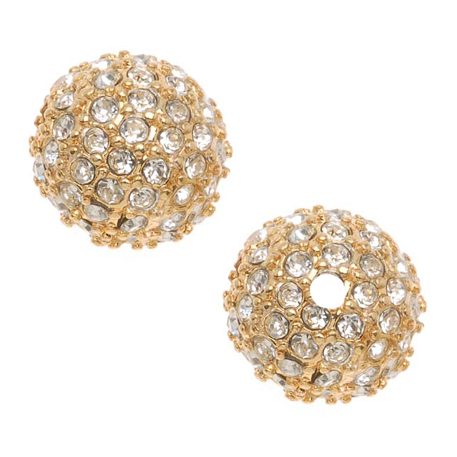 Beadelle Crystal 12mm Round Pave Bead Lg Hole Gold Plated / Crystal (1 Piece)