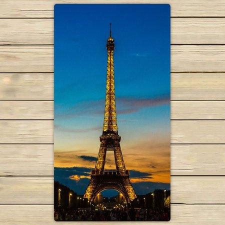 French Beach Towel - PHFZK City Towel, Paris France Eiffel Tower at Sunset Hand Towel Bath Bathroom Shower Towels Beach Towel 30x56 inches