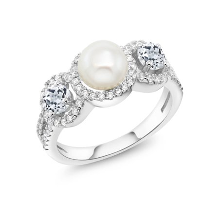 7mm White Freshwater Pearl Ring (1.46 Ct Round Cultured Freshwater Pearl White Topaz 925 Sterling Silver Ring)