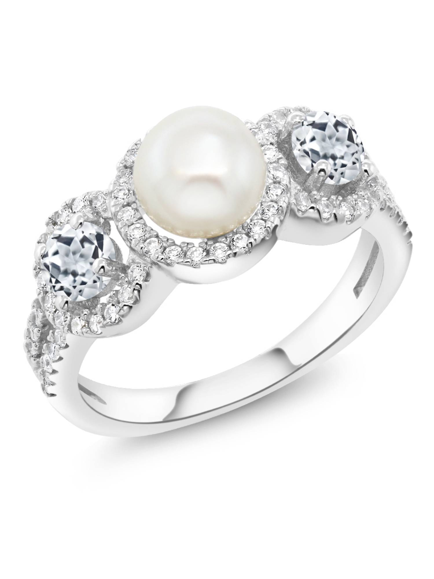1.46 Ct Round Cultured Freshwater Pearl White Topaz 925 Sterling Silver Ring