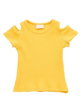 a7d3011380d132 Product Image Summer Kid Baby Girl Cut Out Shoulder T Shirt Toddler Short  Sleeve Crop Top. Product Variants Selector. Yellow