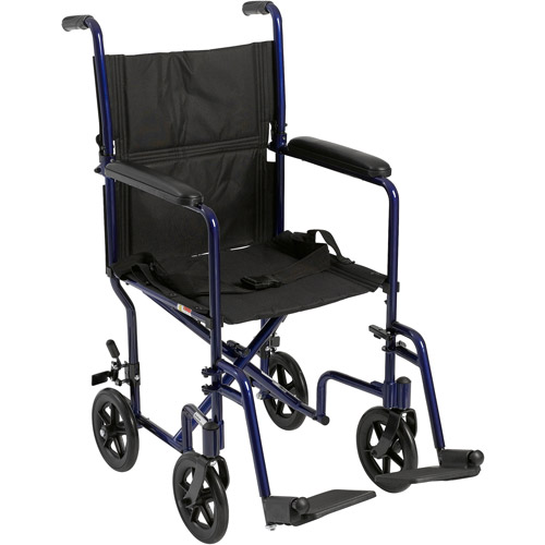 Drive Medical Lightweight Blue Transport Wheelchair