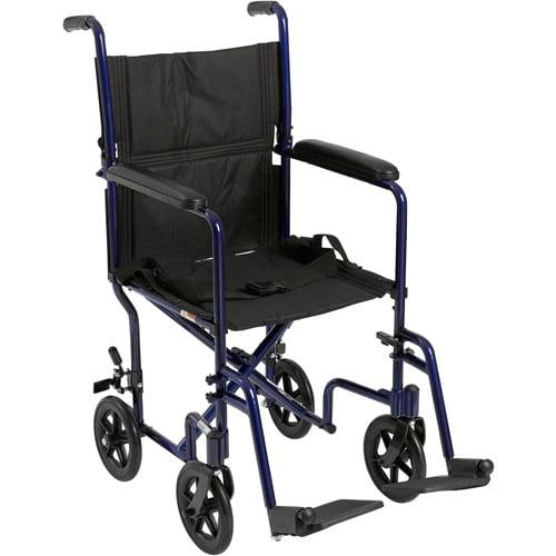 Drive Medical Lightweight Blue Transport Wheelchair