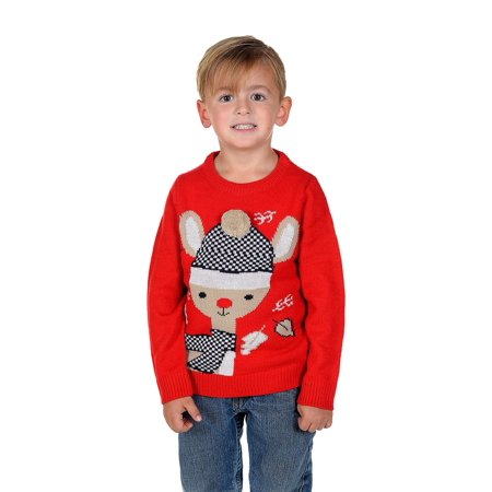 Children's Bambi with 3D Pom Pom Hat Christmas Sweater Red](Red Christmas Hat)