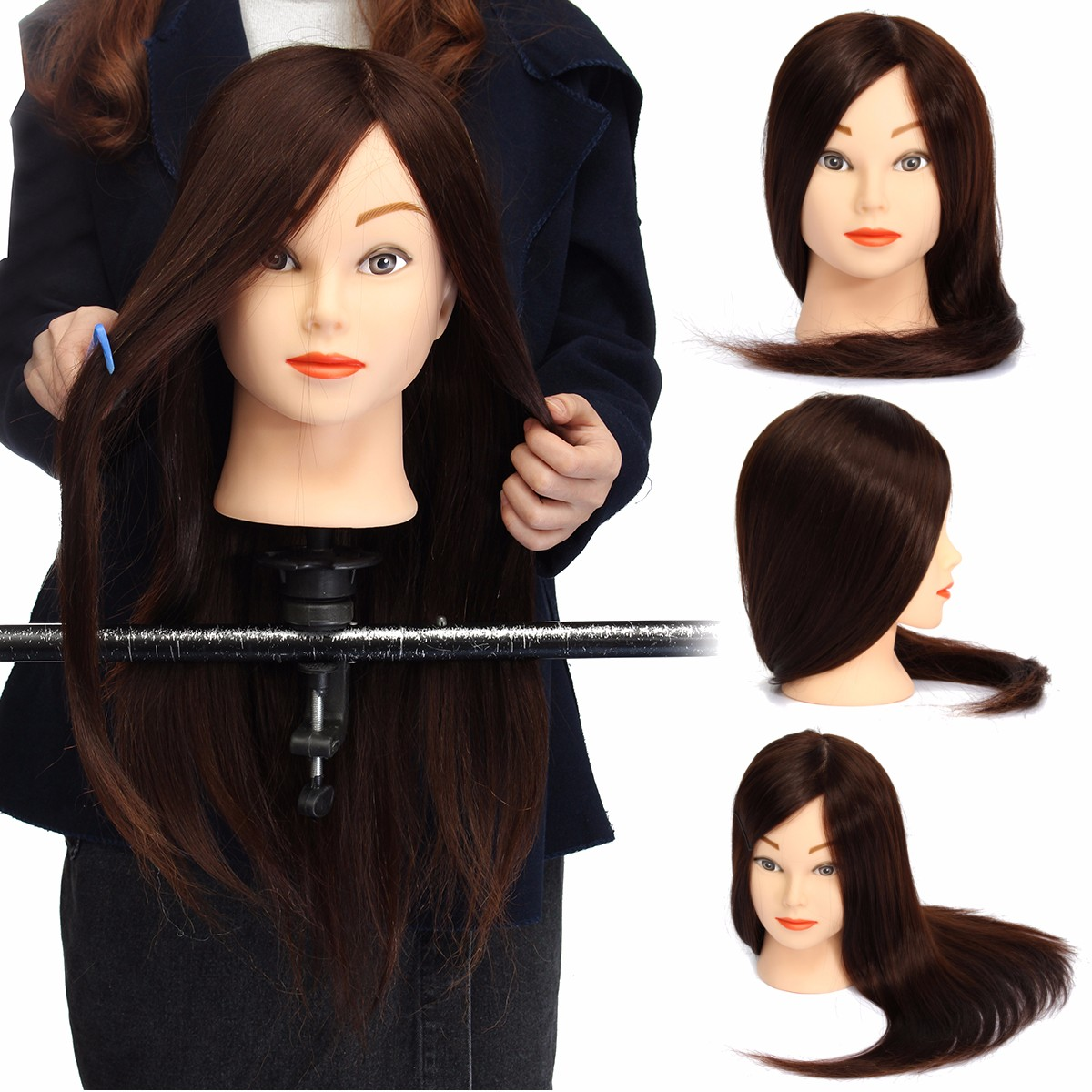 18'' Hairdressing Mannequin Hair Practice Training 90% Human Head Salon + Clamp