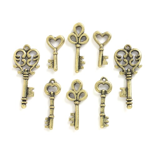 Metal Key Charms, Antique Gold