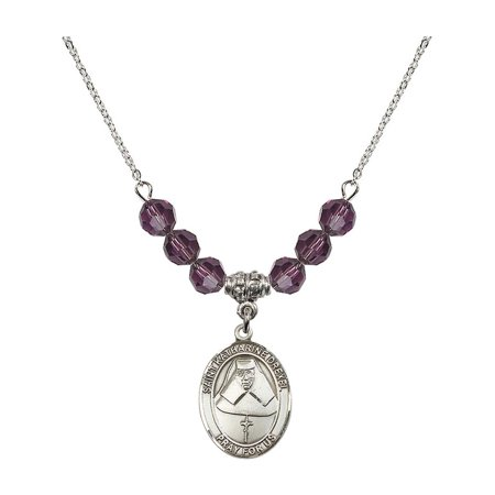 18-Inch Rhodium Plated Necklace with 6mm Purple February Birth Month Stone Beads and Saint Katharine Drexel Charm