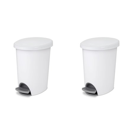 Hampers Wastebaskets (Sterilite, 2.6 Gal./9.8 L Ultra StepOn Wastebasket, White , Case of)