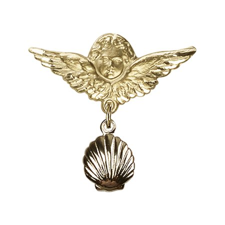 Shell Yellow Brooch - 14kt Yellow Gold Baby Badge with Shell Charm and Angel w/Wings Badge Pin 1 X 1 1/8 inches