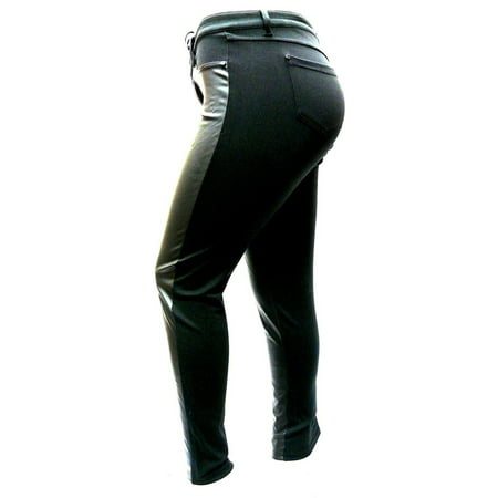 1826 Faux Leather Black Stretch Women's Plus Size Skinny Ponte/PU Pants Clubwear - Plus Clubwear
