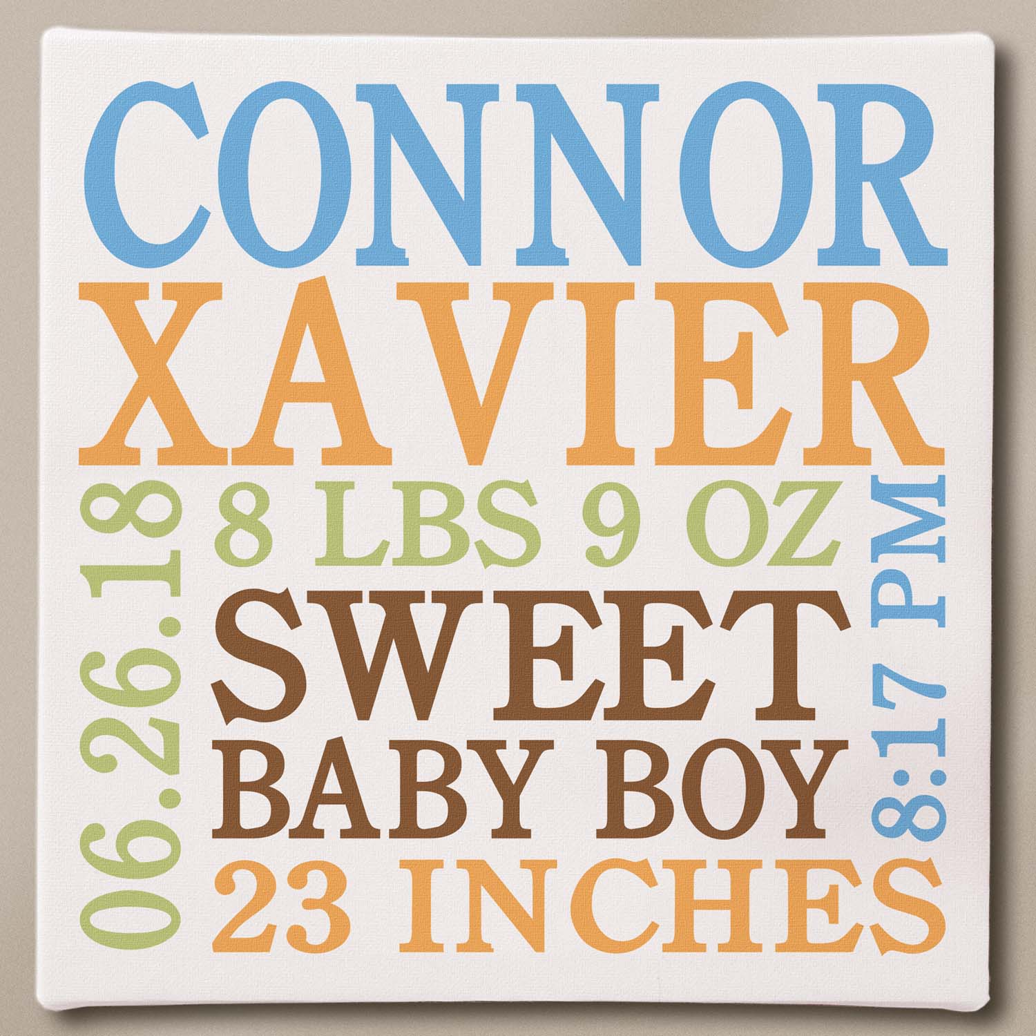 "Personalized Baby Info Canvas, 11"" x 11"" Available in Blue or Pink"