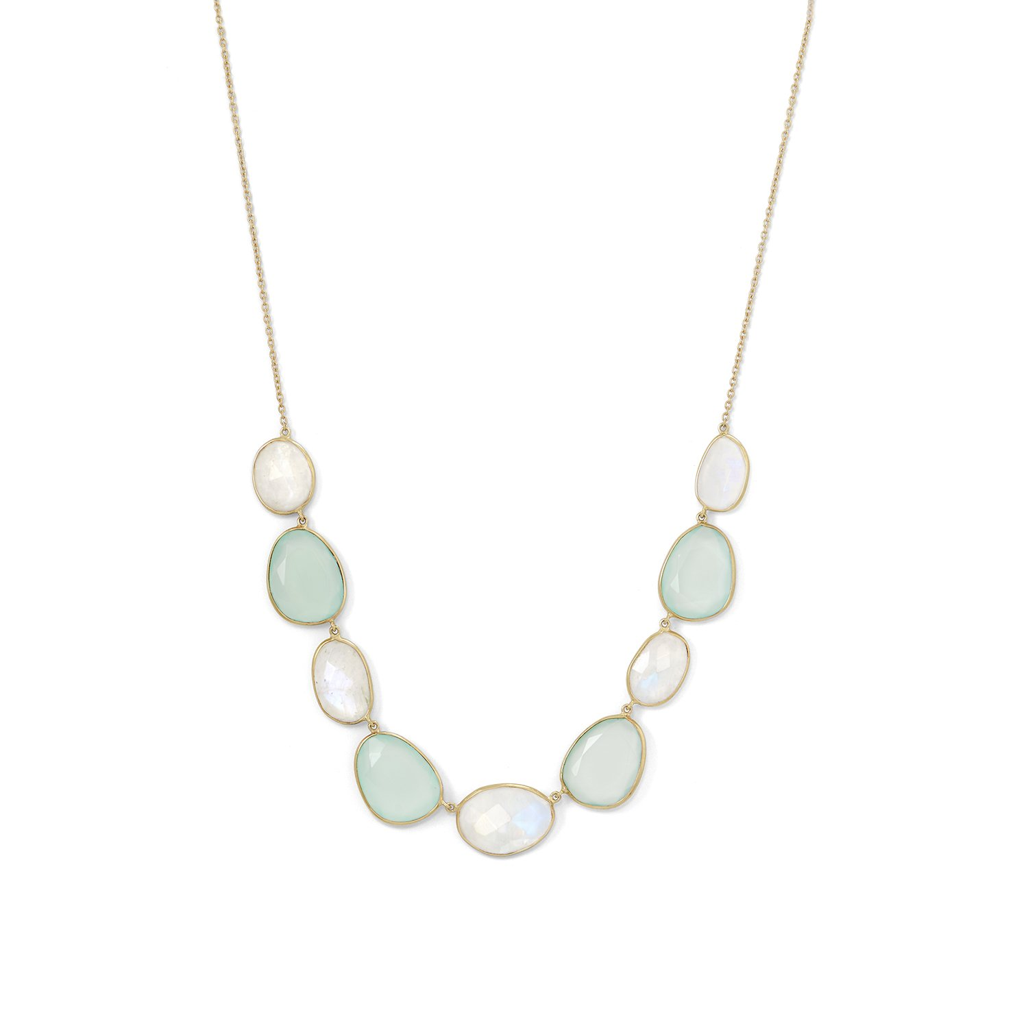 Rainbow Moonstone and Green Chalcedony Necklace Gold-plated Sterling Silver by unknown