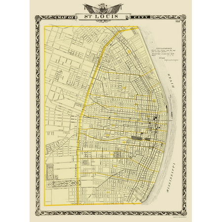 Old City Map - St. Louis Missouri - Warner 1876 - 23 x 31.43 ...
