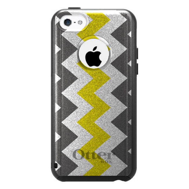 DistinctInk™ Custom Black OtterBox Commuter Series Case for Apple iPhone 5C - Grey Yellow Chevron Stripes