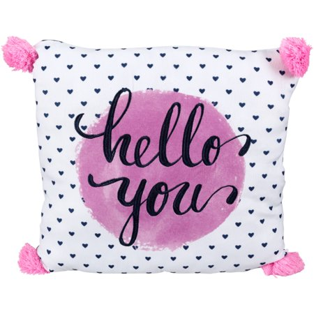 Better Homes & Gardens Kids Hello You Pink Hearts Pom Pom Pillow
