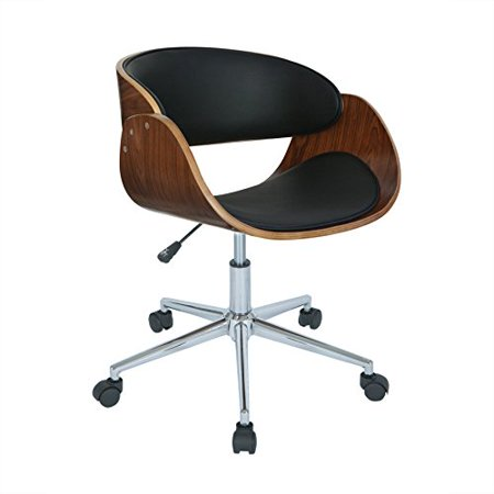Modern Wood Faux Leather Upholstery Seat Office Chair with Chrome Finish Base - Includes Modhaus Living Pen (Black)