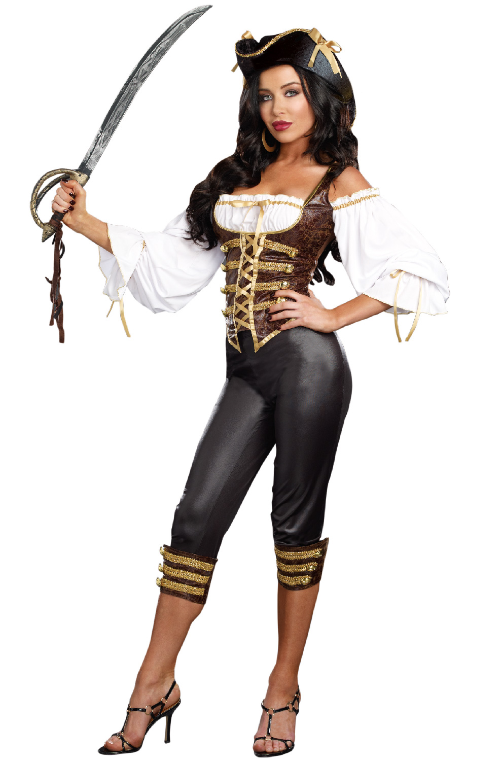 sc 1 st  Walmart & Seaworthy Pirate Costume Dreamgirl 9871 Brown/Black - Walmart.com