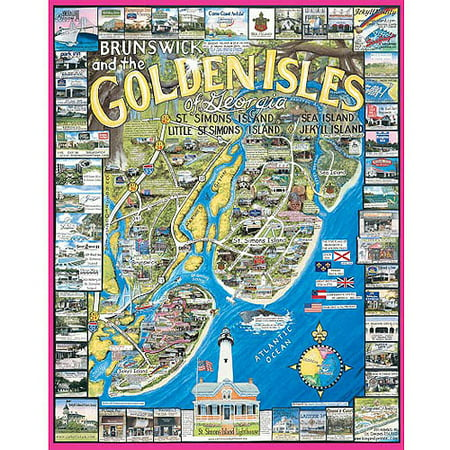 Map Of Georgia Golden Isles.White Mountain Puzzles Golden Isles Ga Puzzle 1000 Pieces