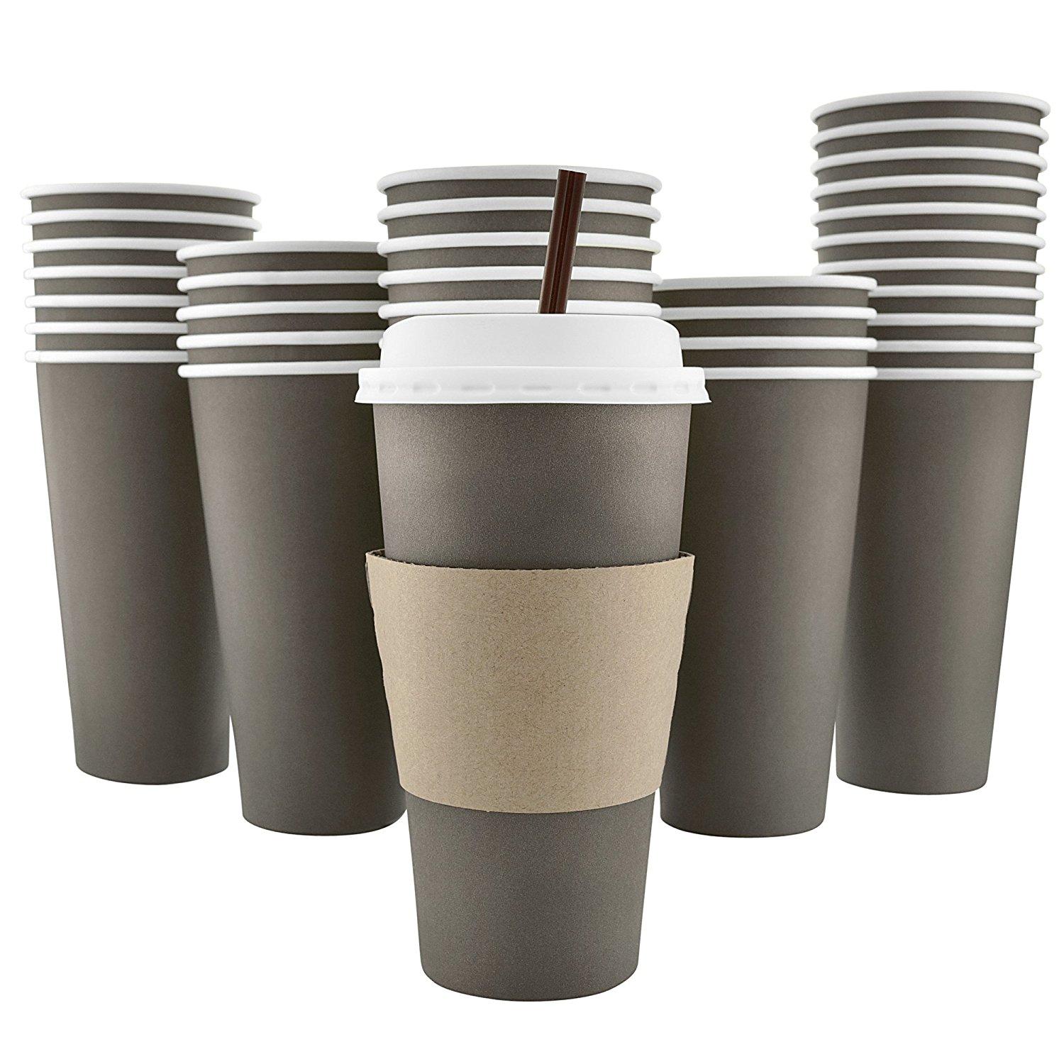 100 Pack 20 Oz [8, 12, 16 Available] Disposable Hot Paper Coffee Cups, Lids, Sleeves, Stirring Straws Mocha... by AckBrands LLC