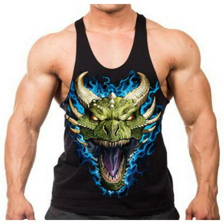 Men's Blue Flaming Dragon Head Stringer Tank Top Small Black