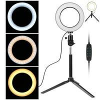 "EEEKit 6"" Selfie Ring Light Photo Video Desktop LED Lamp Mini Camera Ring Lighting Kit with Tripod Stand, 3 Light Modes 10 Brightness Adjustable Level for Livestream Makeup Portrait YouTube Shooting"