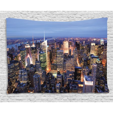 New York Tapestry, Aerial View of NYC Full of Skyscrapers Manhattan Times Square Famous Cityscape Panorama, Wall Hanging for Bedroom Living Room Dorm Decor, 80W X 60L Inches, Blue, by Ambesonne