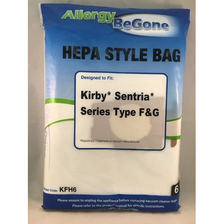 Kirby F 204808 HEPA Synthetic Efficiency Vacuum Bags- 6 pack, by Allergy Be Gone. Fits Kirby Ultimate G Series, Gsix, Sentria