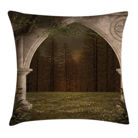 Gothic Decor Throw Pillow Cushion Cover, Old Retro Arch in Garden Renaissance Meadow Forest Dark Scary Design Image, Decorative Square Accent Pillow Case, 18 X 18 Inches, Green Beige, by Ambesonne
